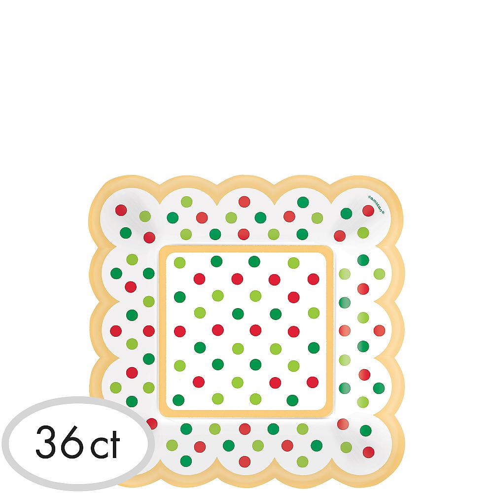 metallic polka dot christmas scalloped appetizer plates 36ct image 1