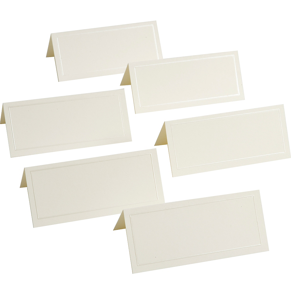Ivory Pearlized Border Printable Place Cards 48ct Image #1