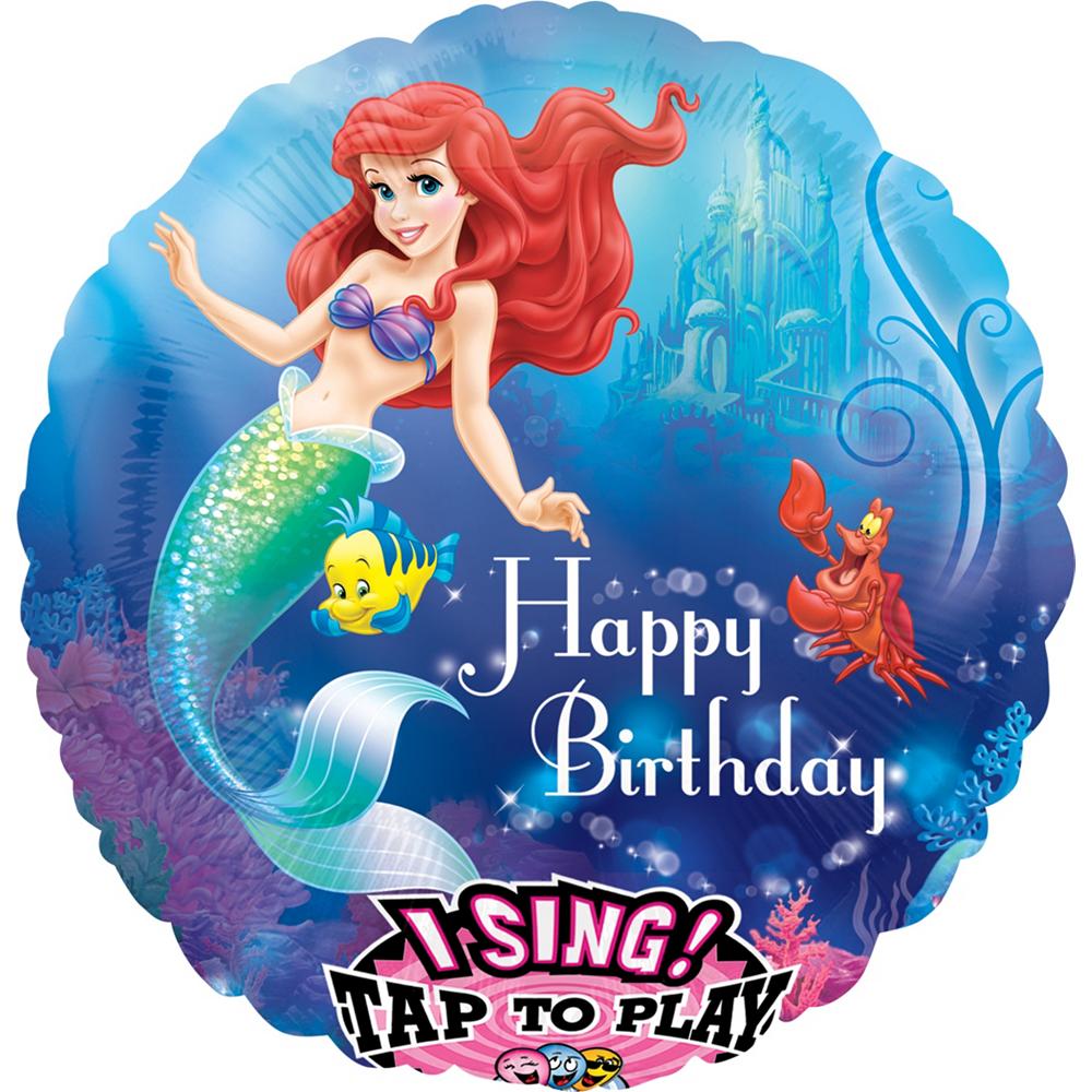 Happy Birthday Little Mermaid Balloon - Singing, 28in Image #1