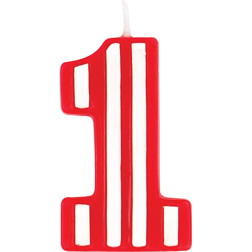 Red White Striped Number 1 Birthday Candle Image