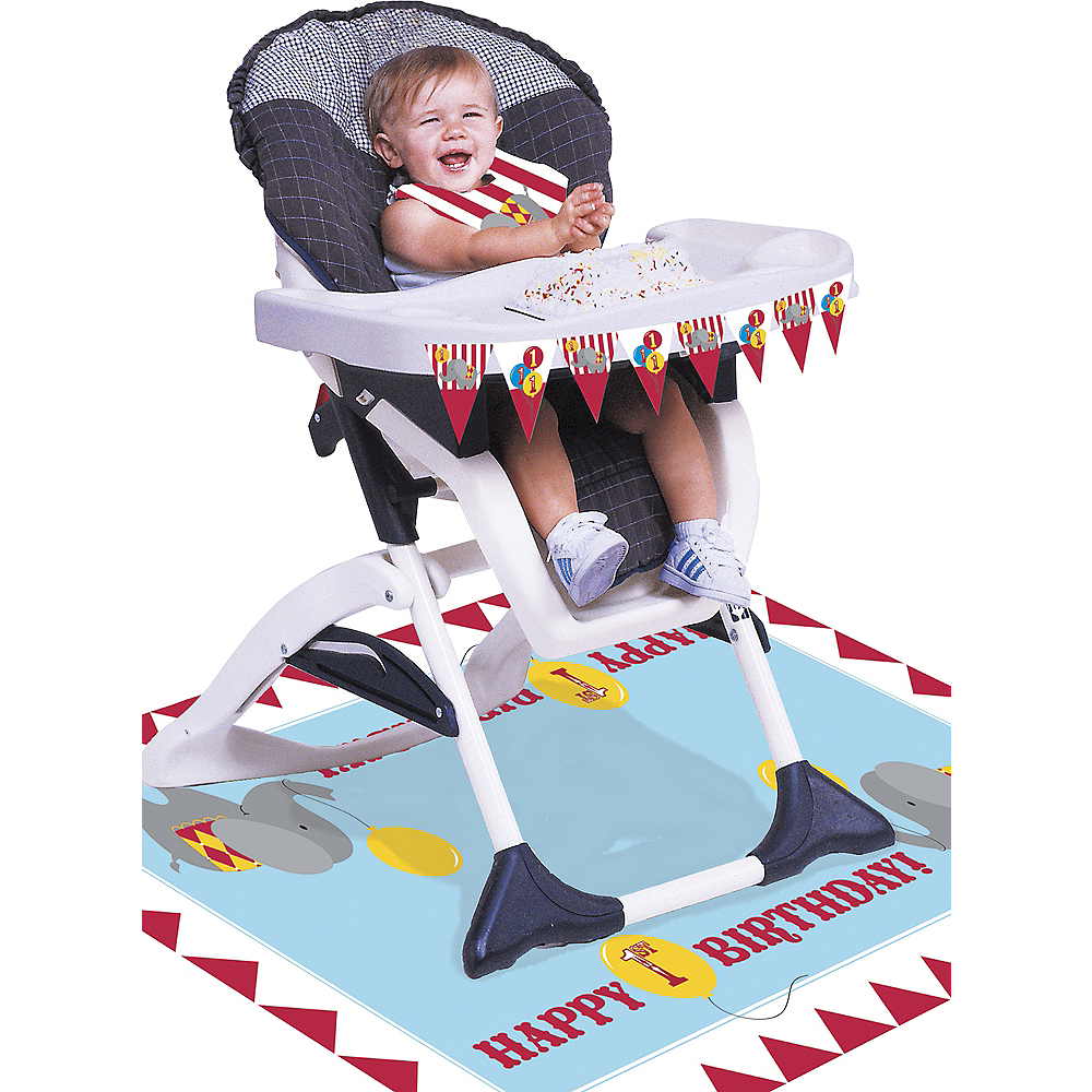 Carnival 1st Birthday High Chair Decorating Kit 3pc Image 1