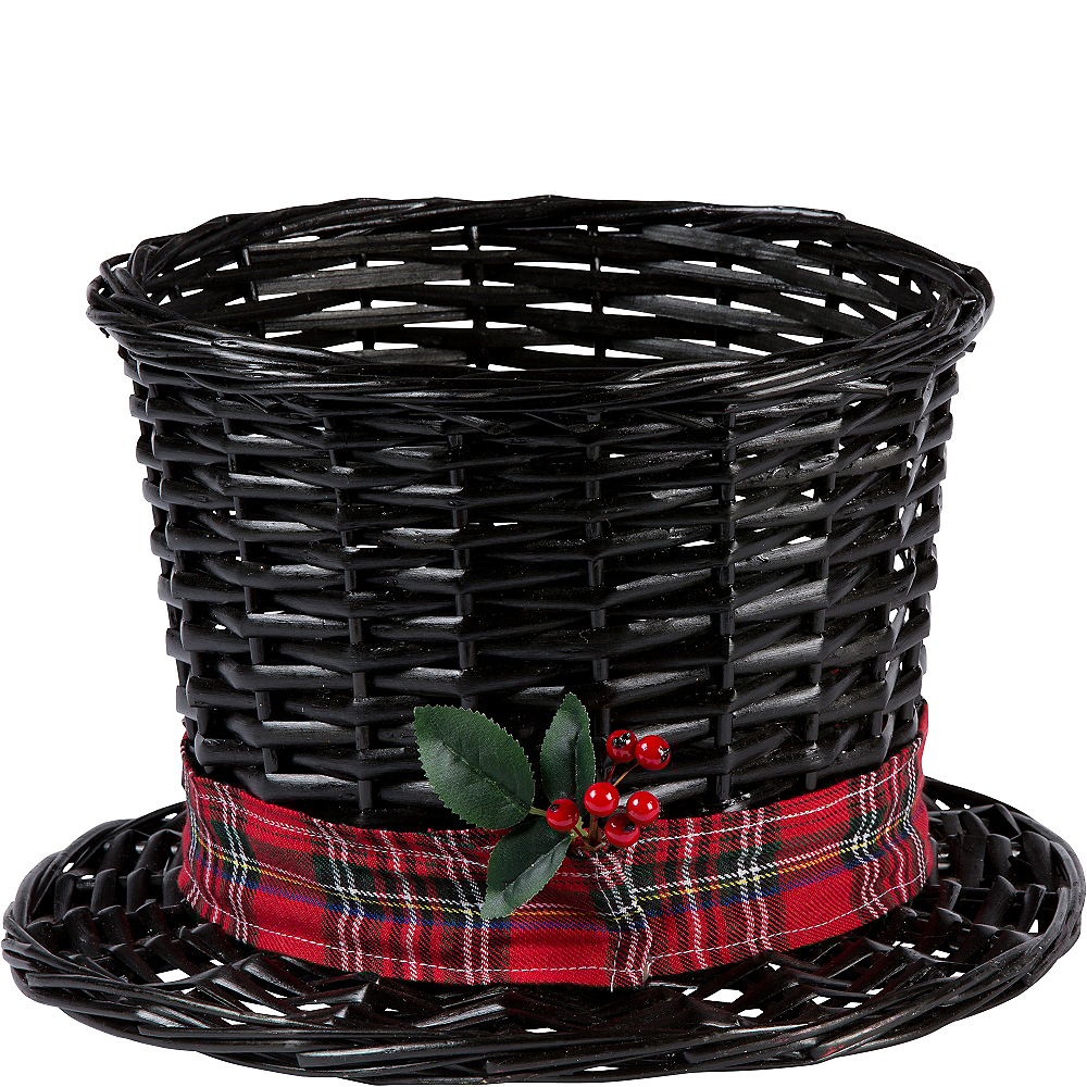 7b6a133e086 Large Snowman Hat Basket 13in x 8in