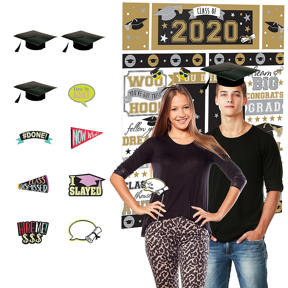 Black, Gold & Silver Graduation Photobooth Kit Image #1