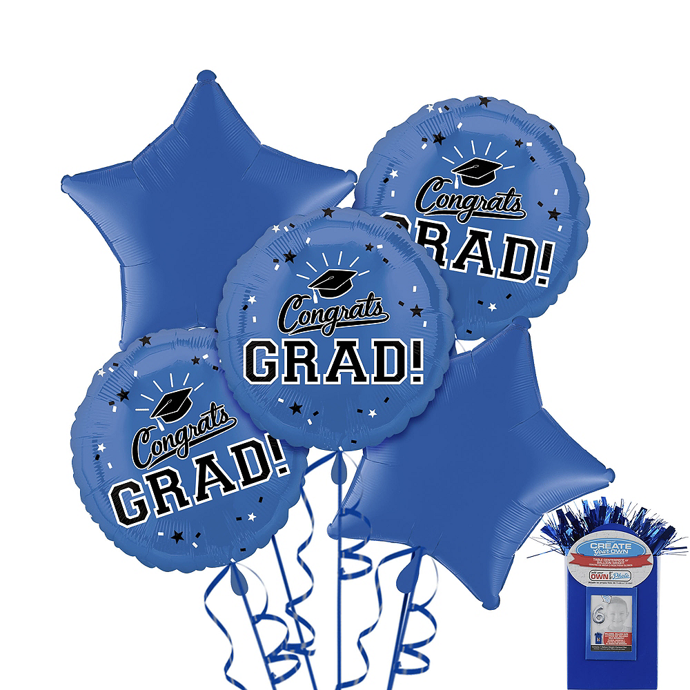 Royal Blue Graduation Balloon Bouquet 5pc Image #1