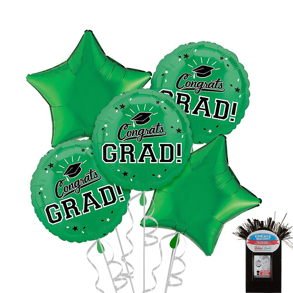 Green Graduation Balloon Bouquet 5pc Image #1