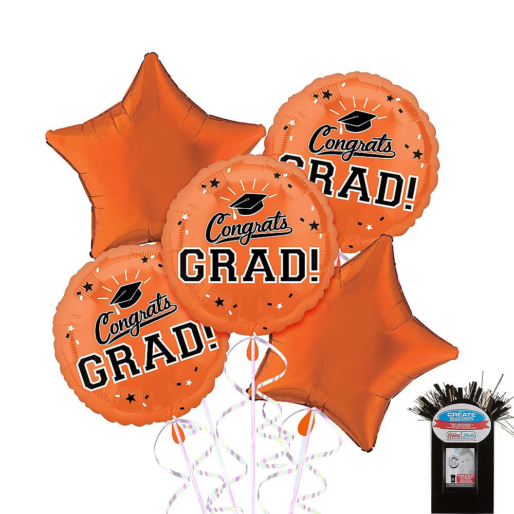 Orange Graduation Balloon Bouquet 5pc Image #1