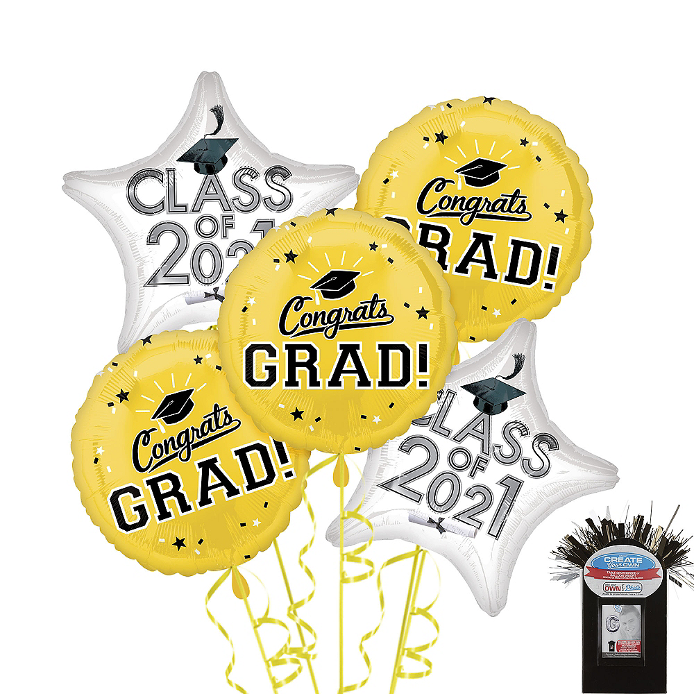 Yellow Graduation Balloon Bouquet 5pc Image #1