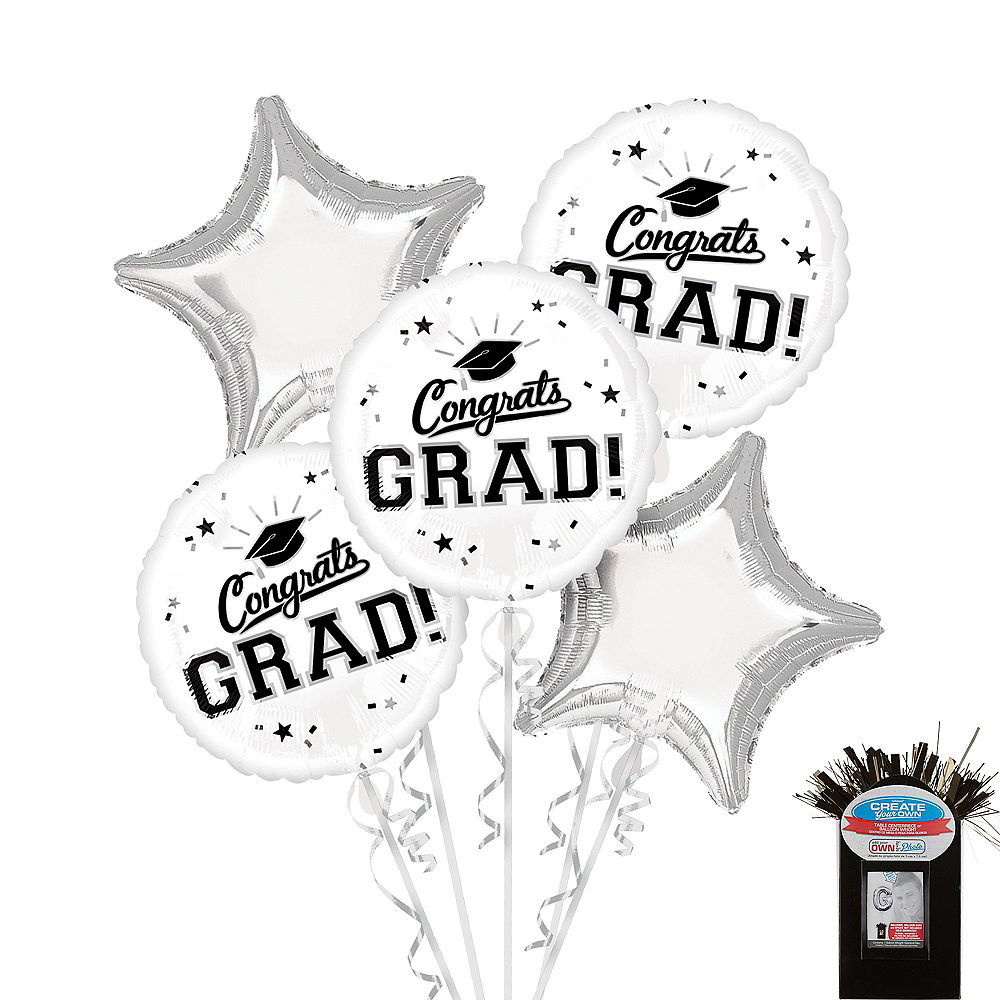 Nav Item for White Graduation Balloon Bouquet 5pc Image #1