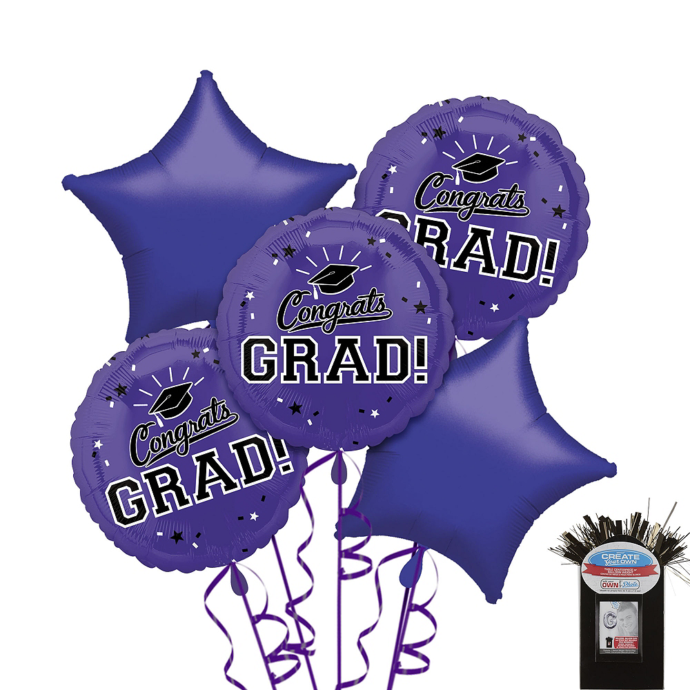 Purple Graduation Balloon Bouquet 5pc Image #1