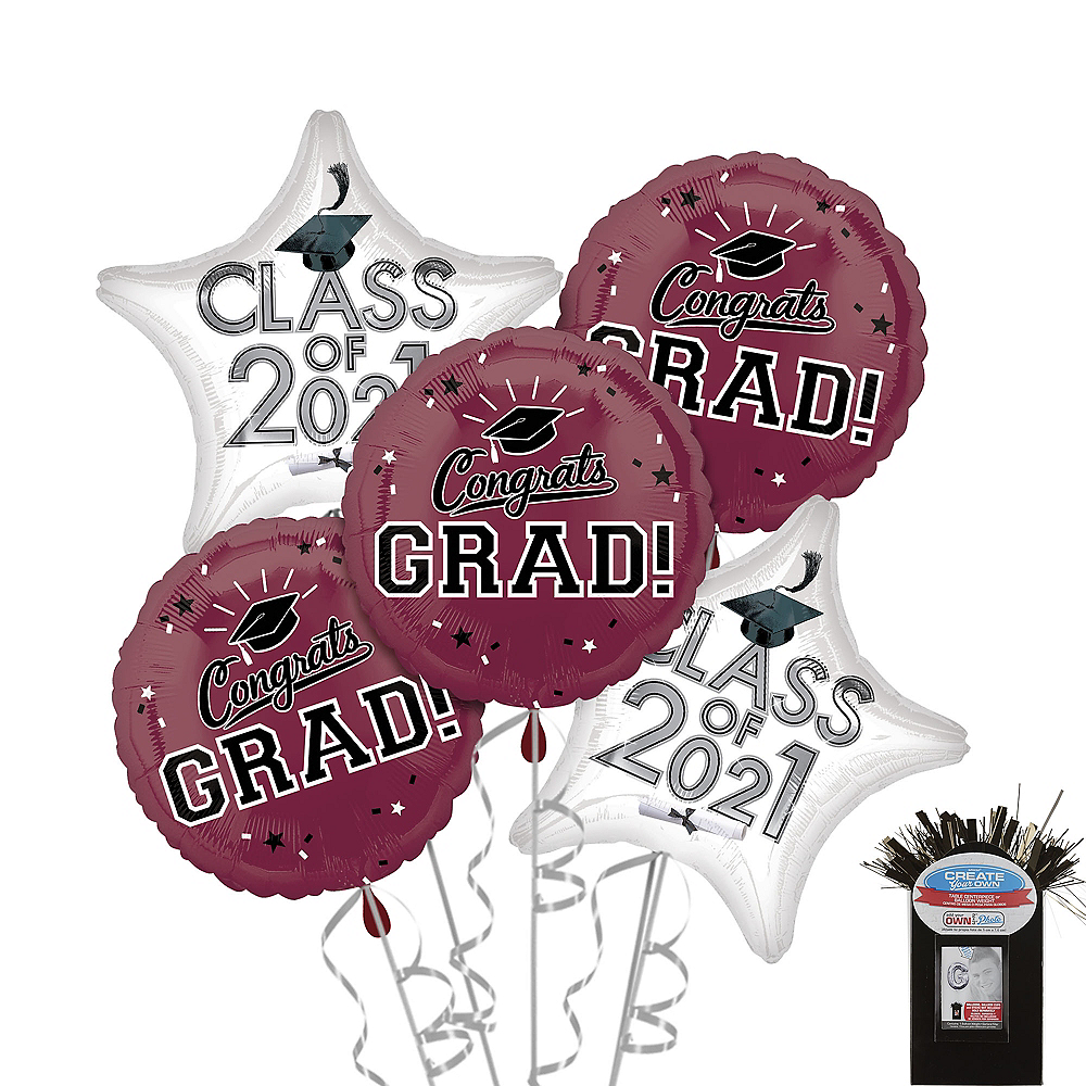 Nav Item for Berry Graduation Balloon Bouquet 5pc Image #1