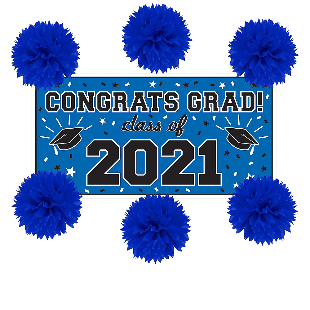 Royal Blue Graduation Wall Decorating Kit Image #1