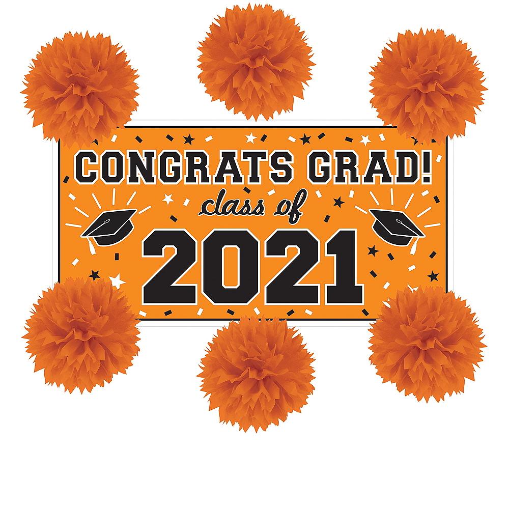 Orange Graduation Wall Decorating Kit Image #1