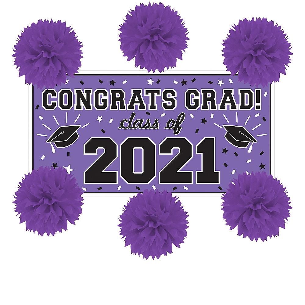 Purple Graduation Wall Decorating Kit Image #1