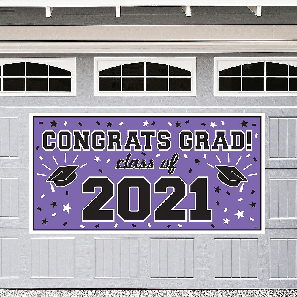 Purple Graduation Wall Decorating Kit Image #2