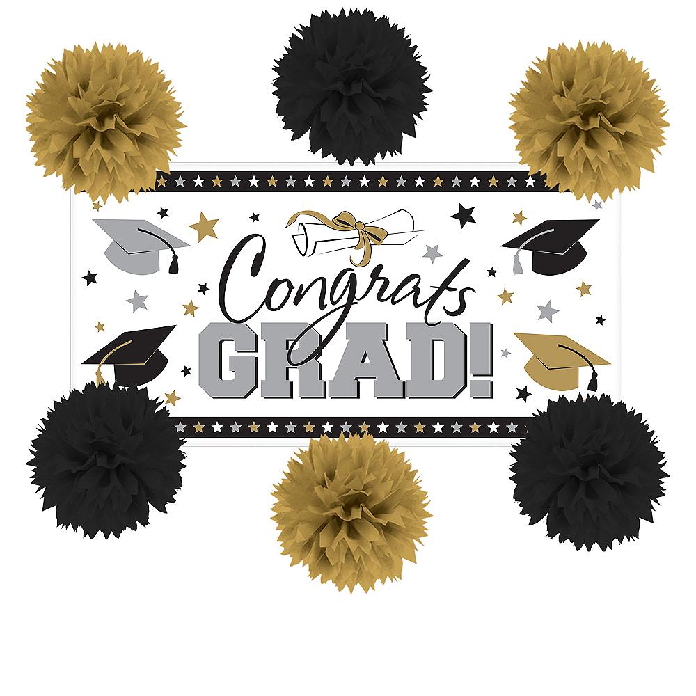 Black, Gold & Silver Graduation Wall Decorating Kit Image #1