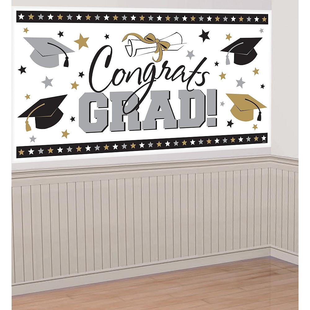 Black, Gold & Silver Graduation Wall Decorating Kit Image #4