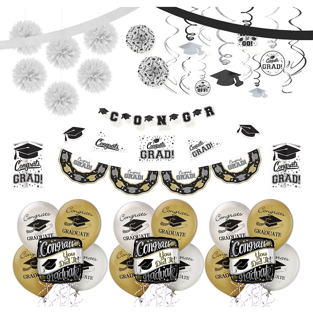 Nav Item for Black, Gold & Silver Graduation Decoration Party Kit Image #1