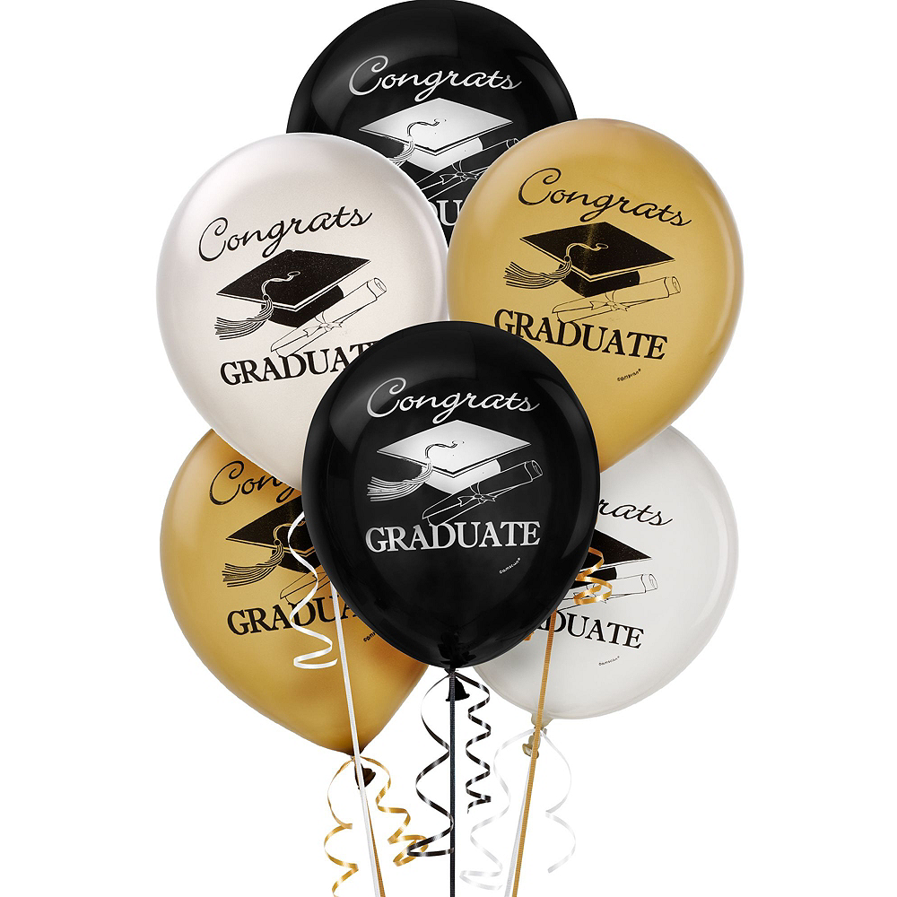 Nav Item for Black, Gold & Silver Graduation Decoration Party Kit Image #5