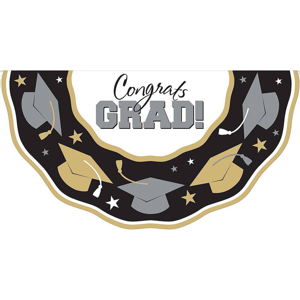 Nav Item for Black, Gold & Silver Graduation Decoration Party Kit Image #8