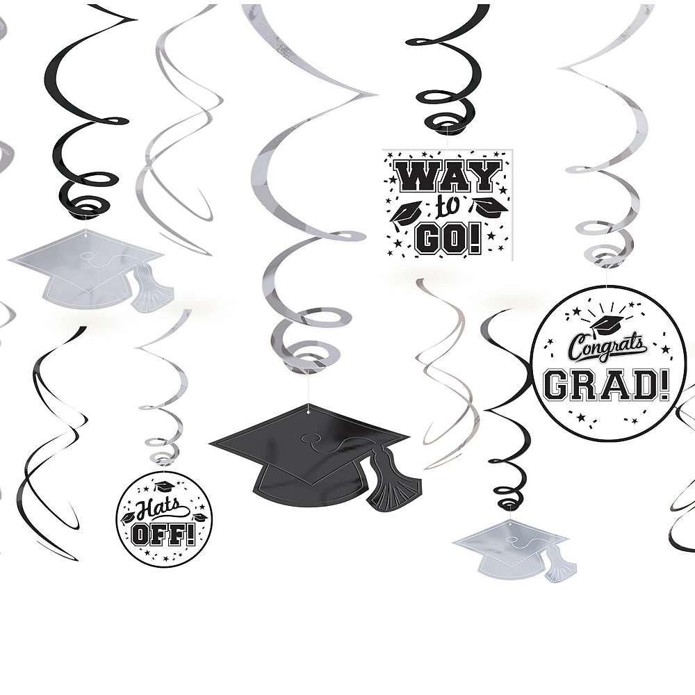 Nav Item for Black, Gold & Silver Graduation Decoration Party Kit Image #10
