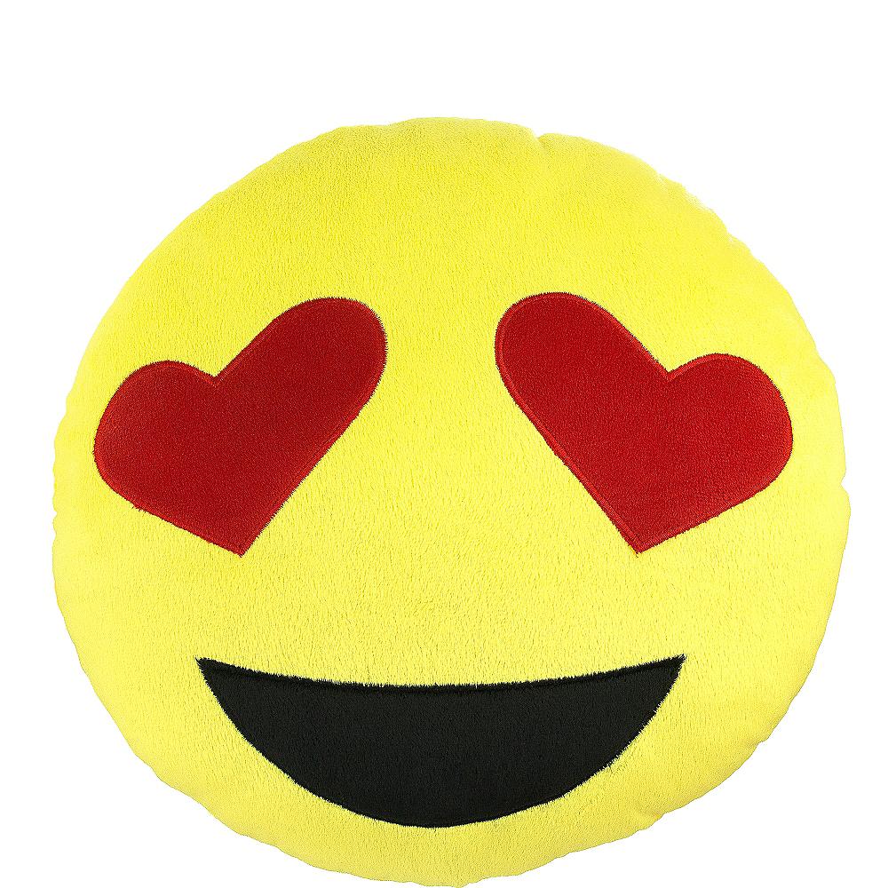 Heart eyes smiley pillow plush image 1