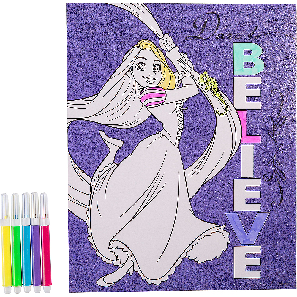 Glitter Rapunzel Coloring Sheet with Markers Image #1