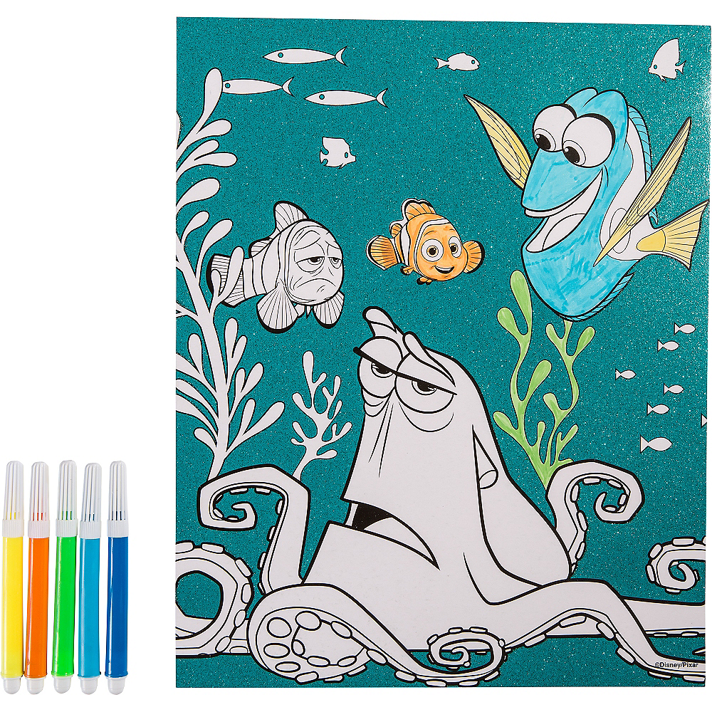 Glitter Finding Dory Coloring Sheet with Markers Image #1