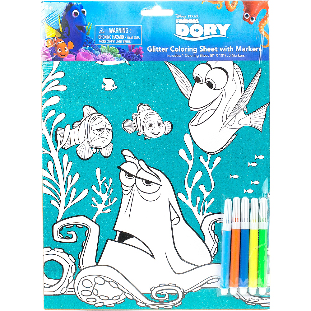 Glitter Finding Dory Coloring Sheet with Markers Image #2