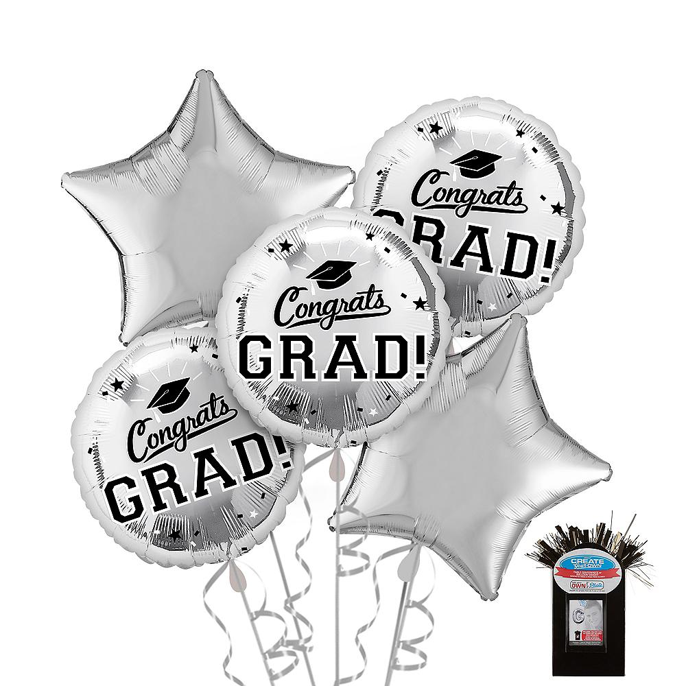 Silver Graduation Balloon Bouquet 5pc Image #1