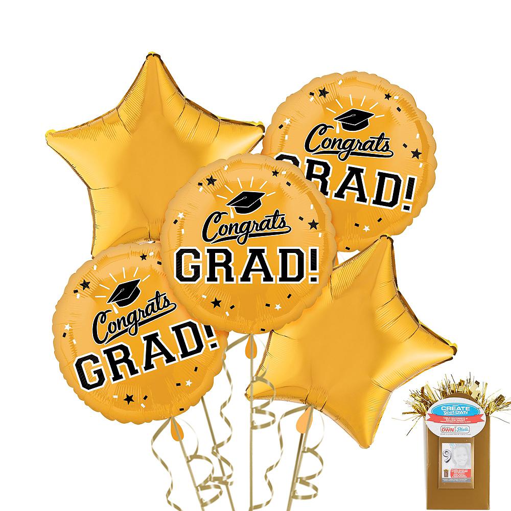 Gold Graduation Balloon Bouquet 5pc Image #1