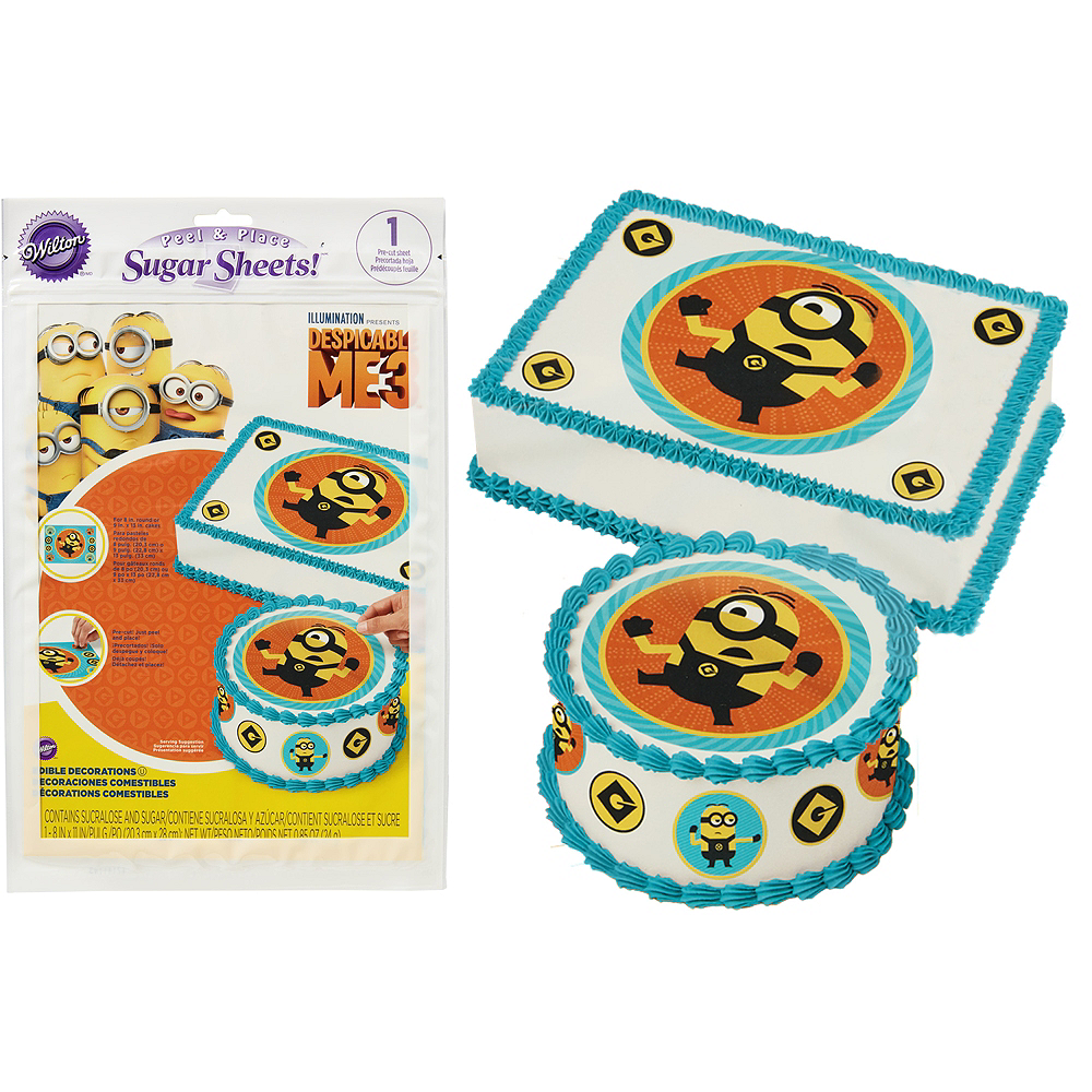 Wilton Minions Sugar Sheet 8in x 11in - Despicable Me 3 | Party City