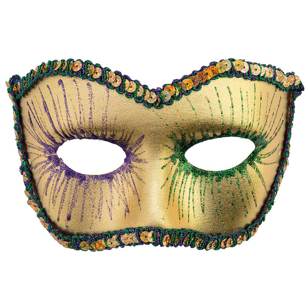 Sequin Mardi Gras Masquerade Mask Image #1