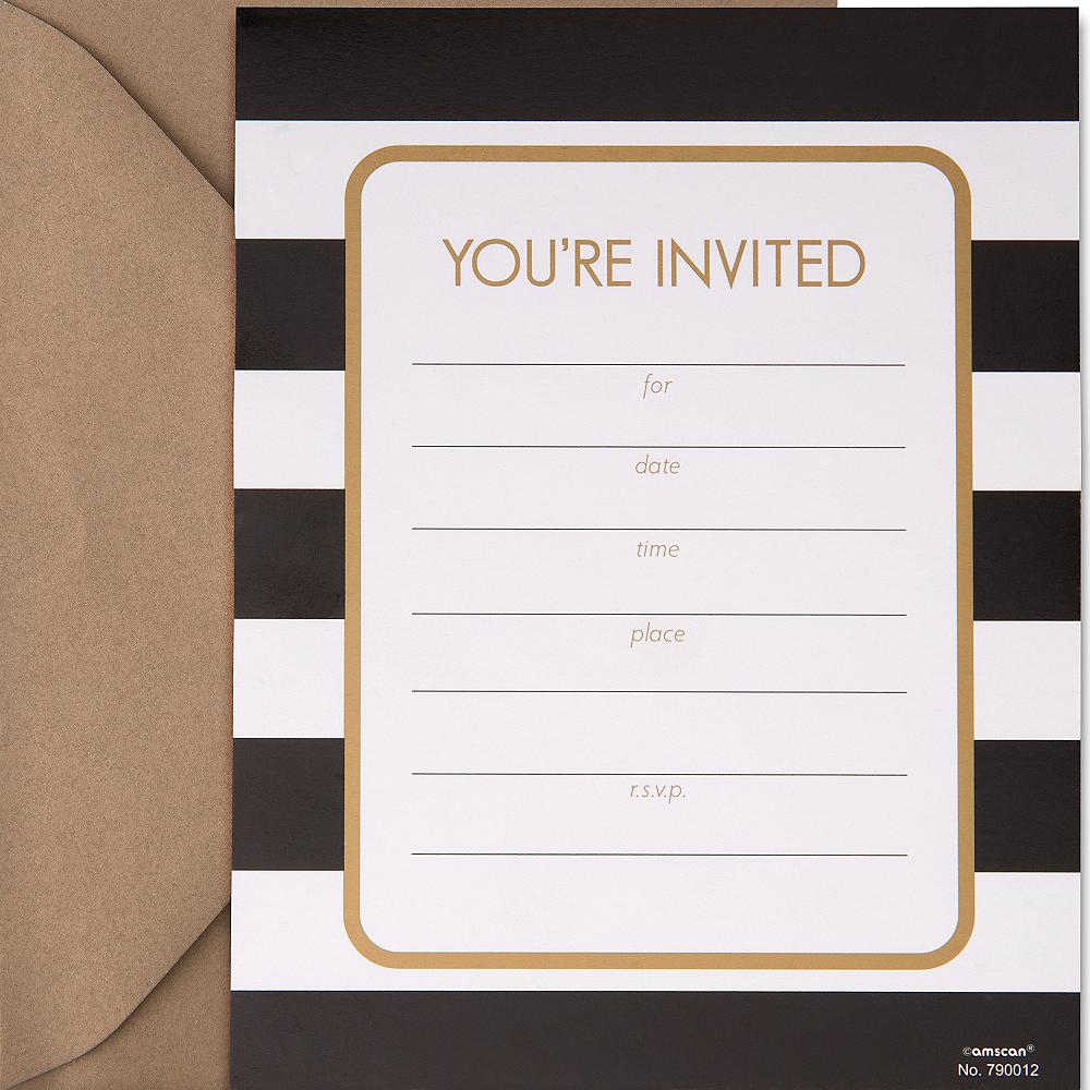 Black & White Striped Invitations 50ct Image #1