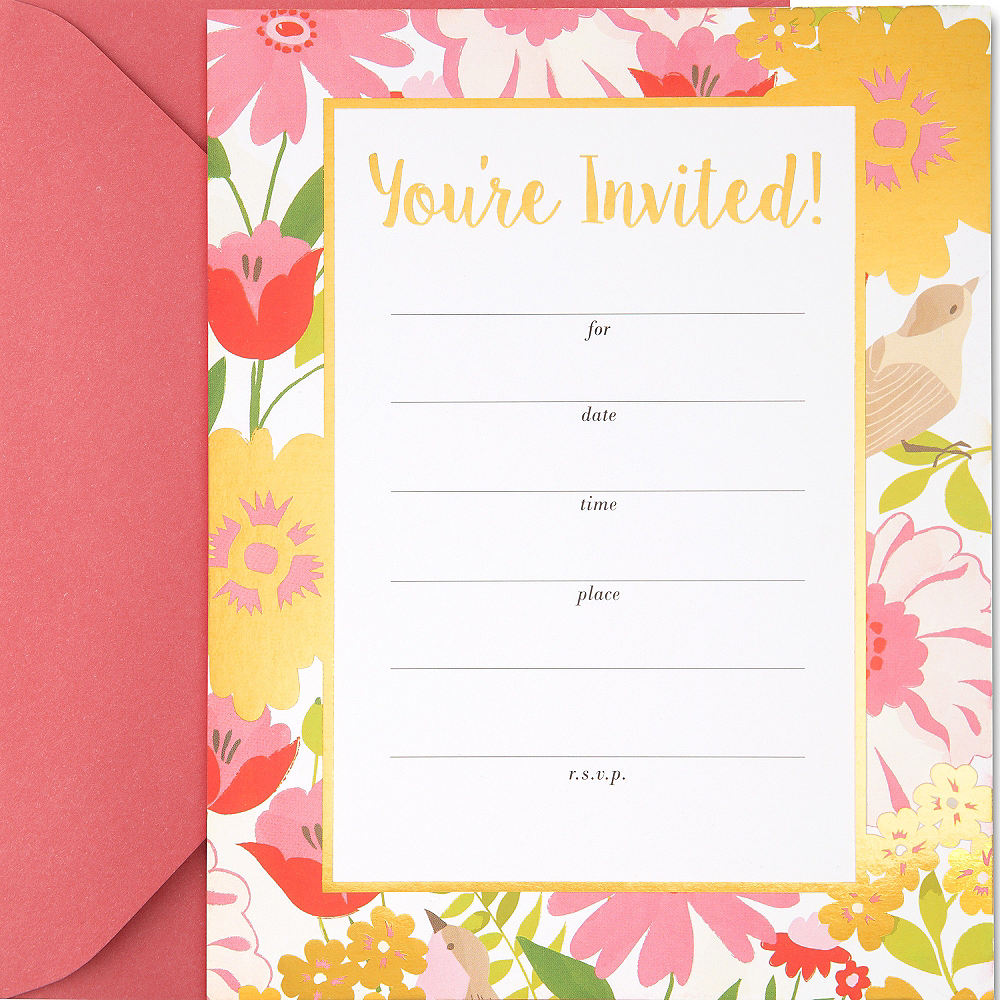 Metallic Chic Floral Invitations 20ct Image #1