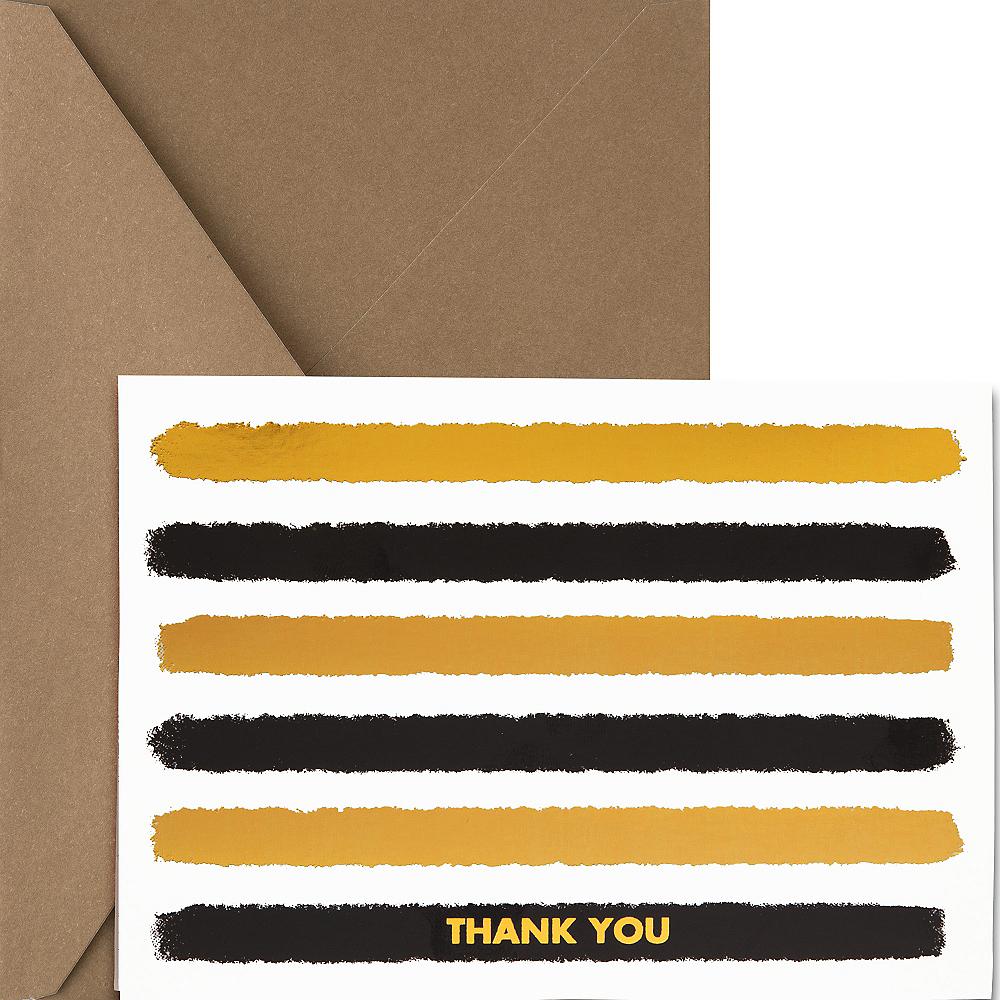 Metallic Gold & Black Striped Thank You Notes 20ct Image #1