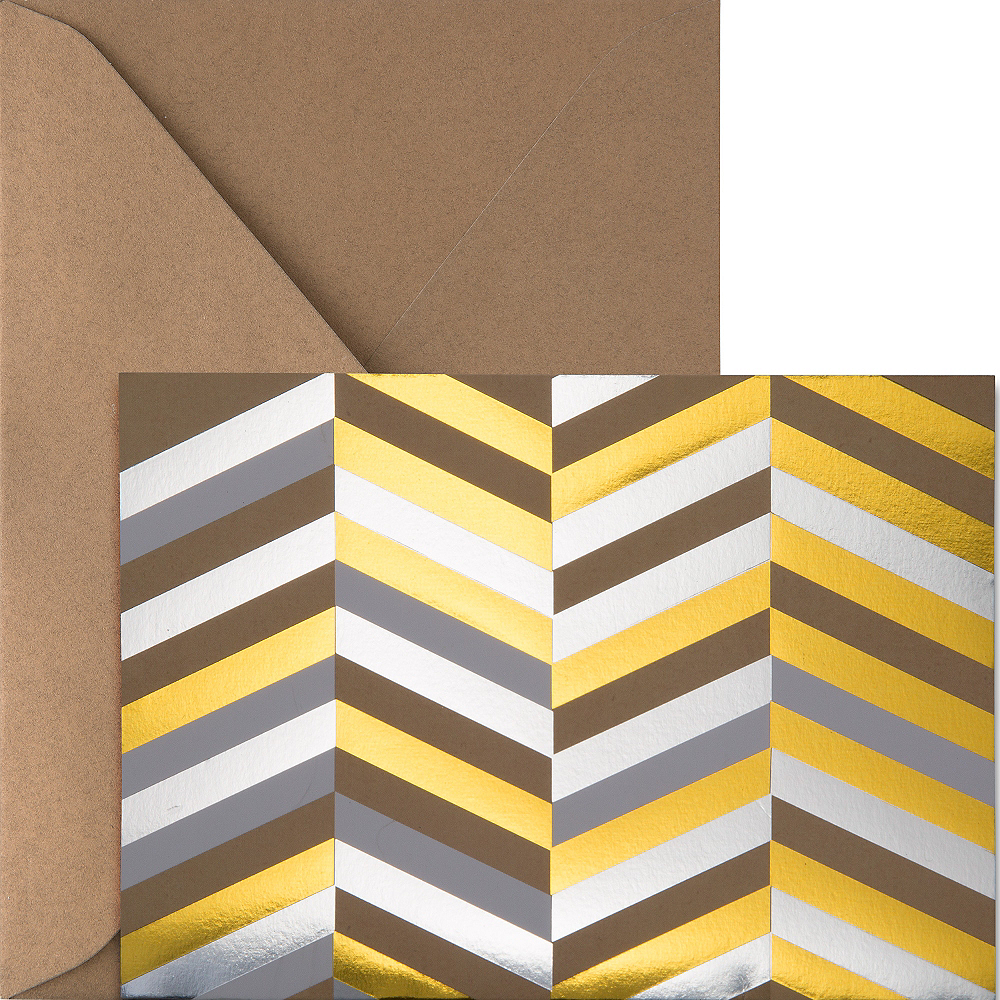 Metallic Gold & Silver Herringbone Note Cards 20ct Image #1