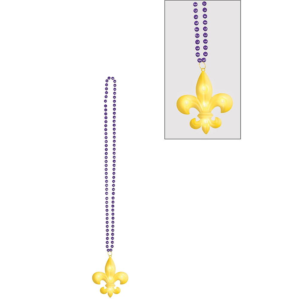 Light-Up Fleur-de-Lis Mardi Gras Pendant Bead Necklace Image #1
