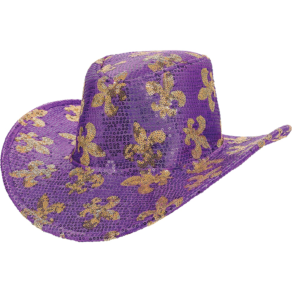 Nav Item for Sequin Mardi Gras Cowboy Hat Image #1