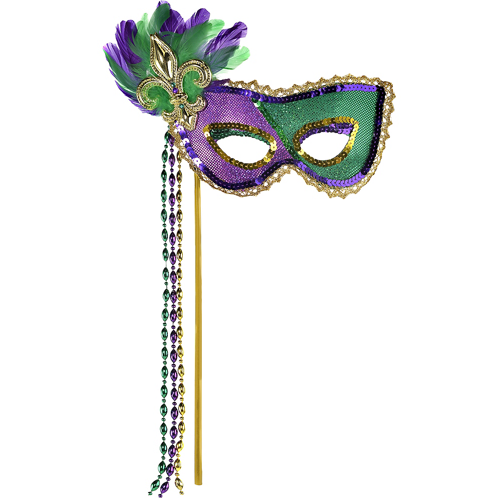 Sequin Mardi Gras Masquerade Mask on a Stick Image #1