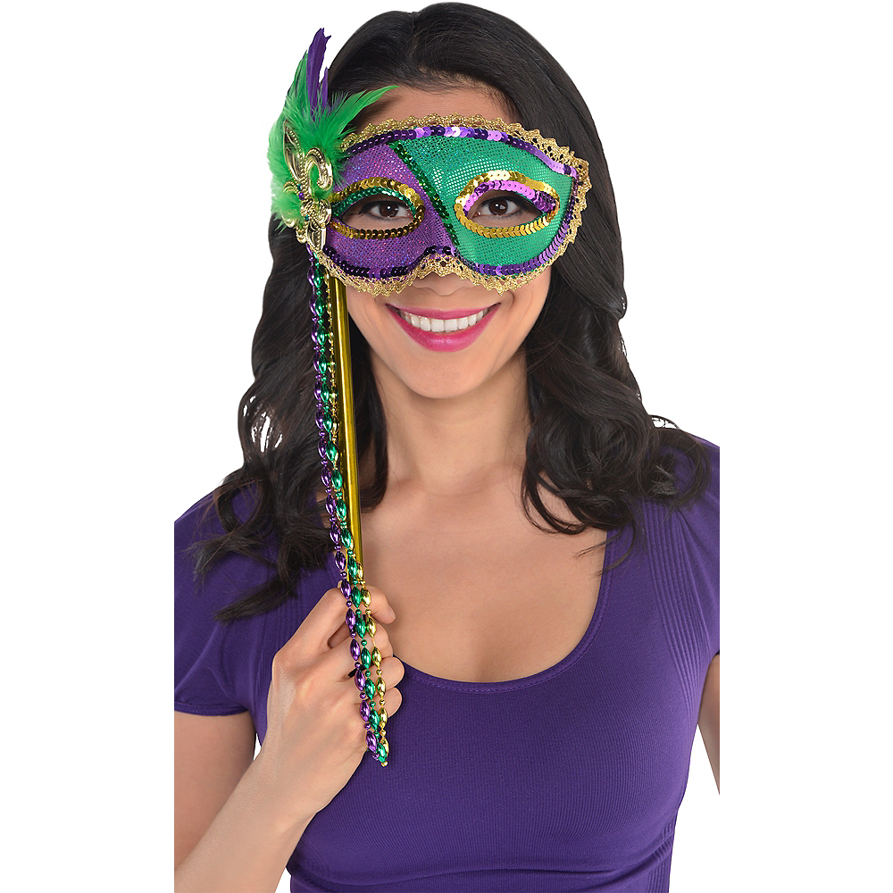 Sequin Mardi Gras Masquerade Mask on a Stick Image #2