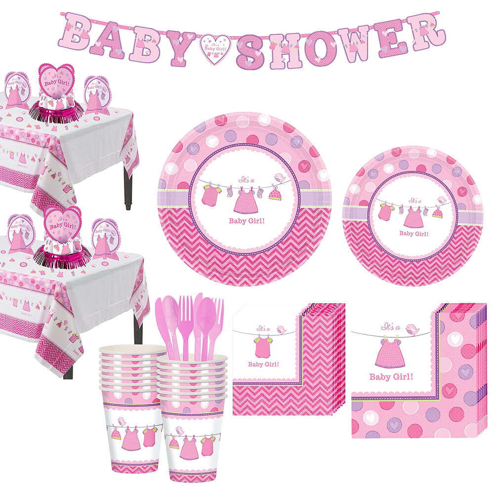Girl Baby Shower Tableware Kit Shower With Love 32 Guests Baby