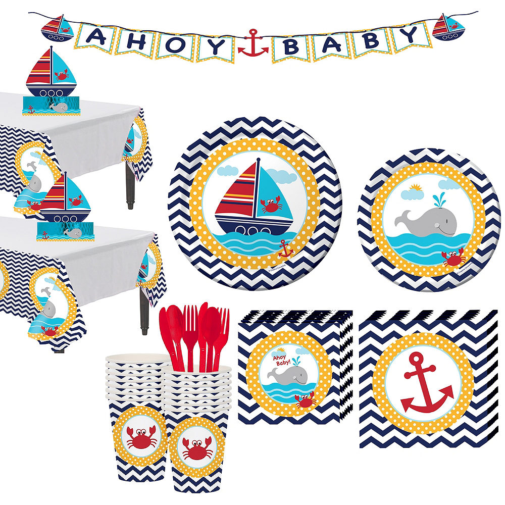 Ahoy Nautical Baby Shower Tableware Kit 32 Guests Image #1