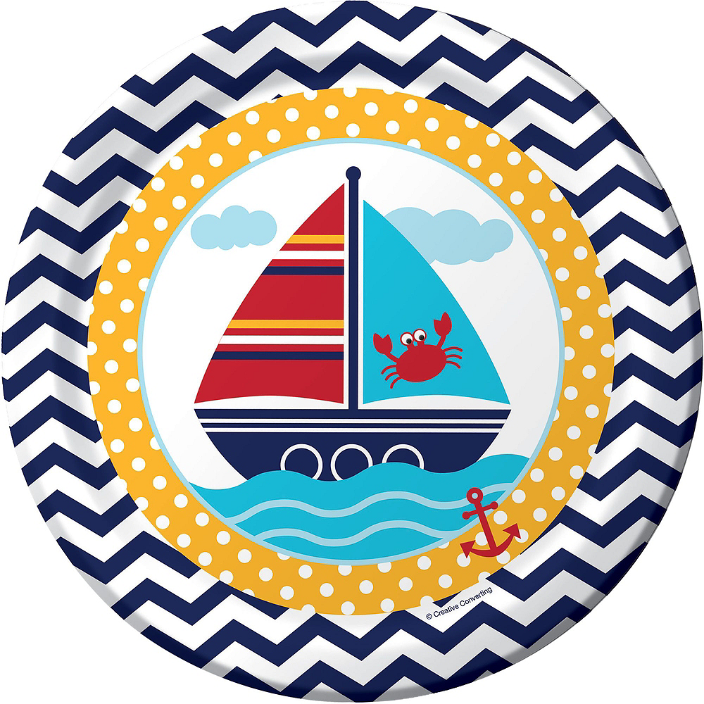 Ahoy Nautical Baby Shower Tableware Kit 32 Guests Image #6