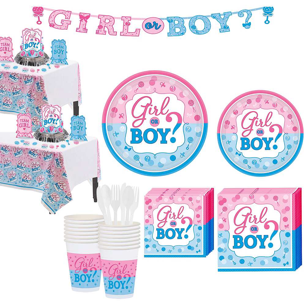 4a404fc18 Girl or Boy Gender Reveal Party Kit 32 Guests Image  1 ...