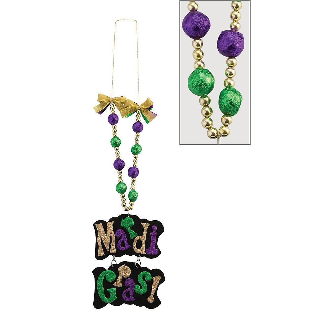 Glitter Mardi Gras Sign Pendant Bead Necklace Image #1