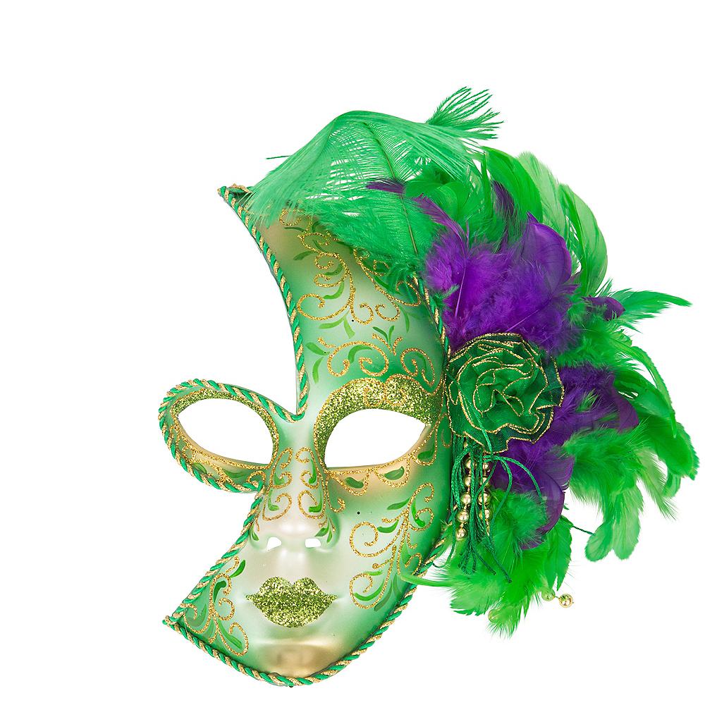 Glitter Feather Mardi Gras Half Mask Image #1