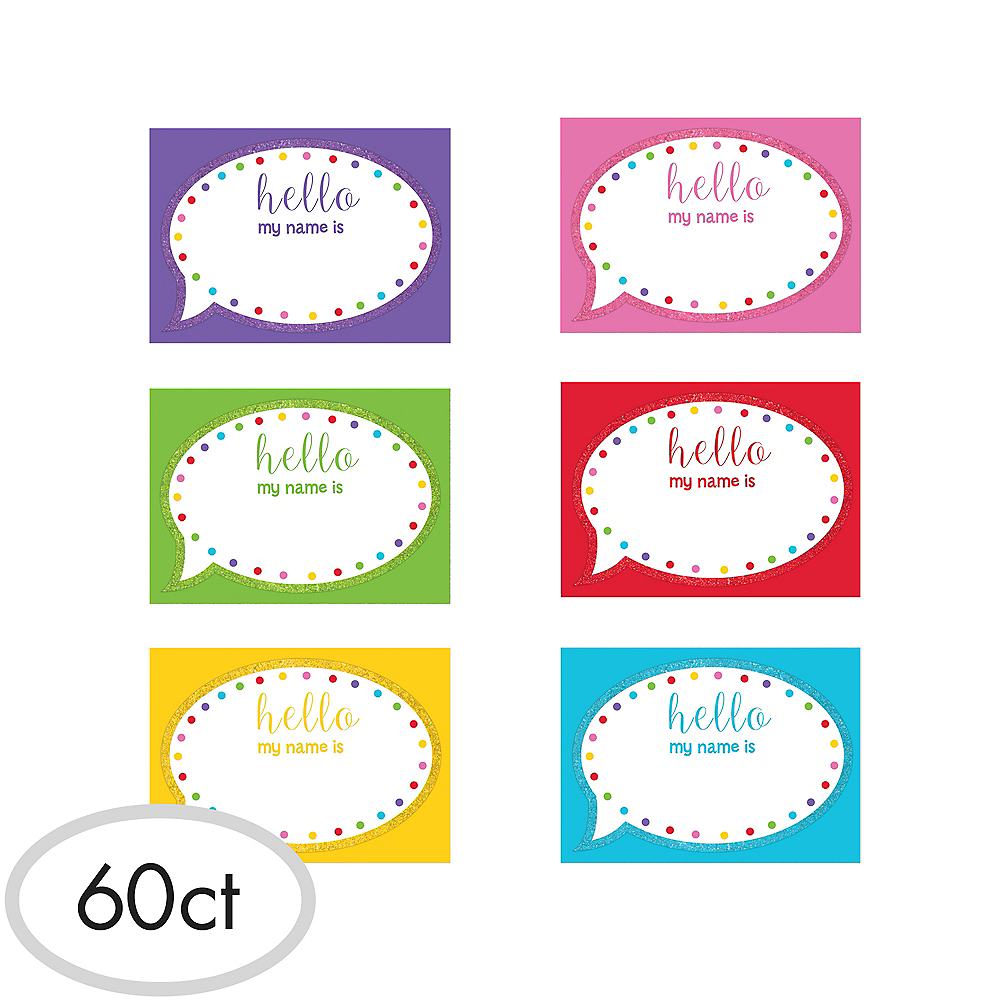 Glitter Hello Name Tags 60ct Image #1