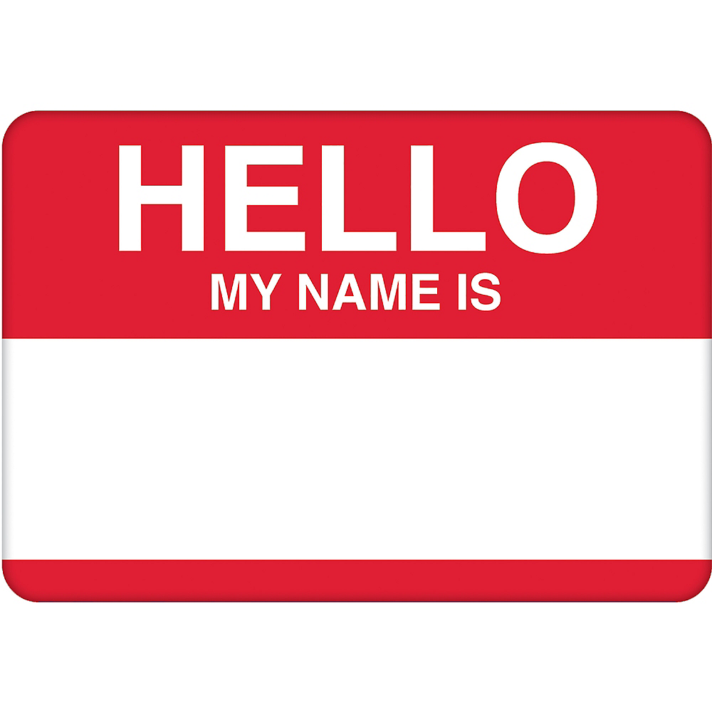 Red Border Hello Name Tags 100ct