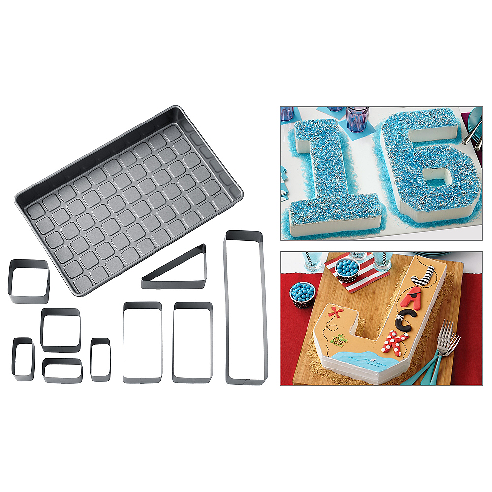 Wilton Custom Numbers & Letters Non-Stick Cake Pan Set 10pc Image #1