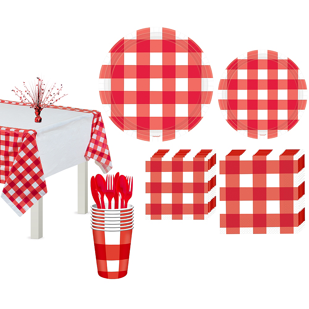 American Summer Red Gingham Basic Party Kit for 16 Guests Image #1